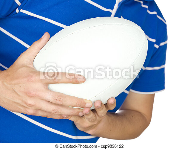 rugby player holding ball on white - csp9836122