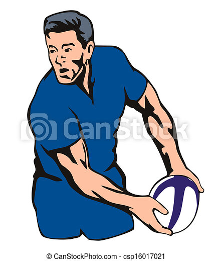 Rugby player passing ball - csp16017021