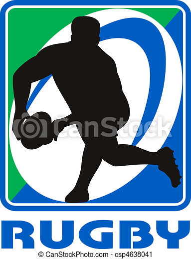 Rugby player passing ball facing front in silhouette  - csp4638041