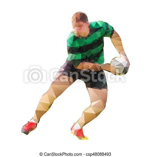 Rugby player passing ball, polygonal vector silhouette - csp48088493