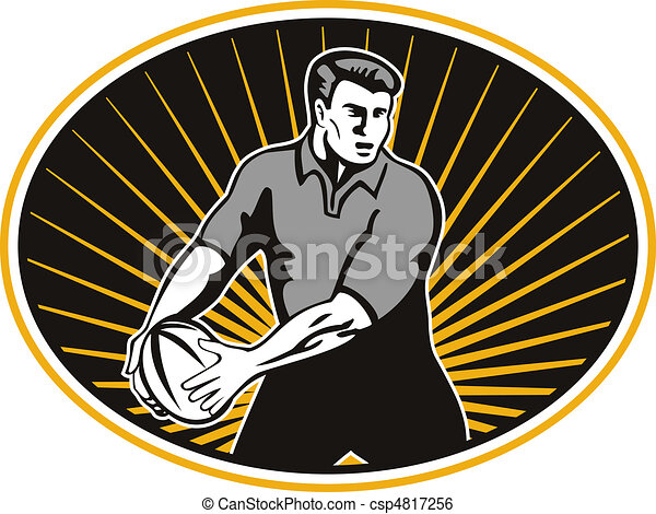 rugby player passing ball shield - csp4817256