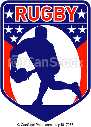 rugby player passing ball shield - csp4817258