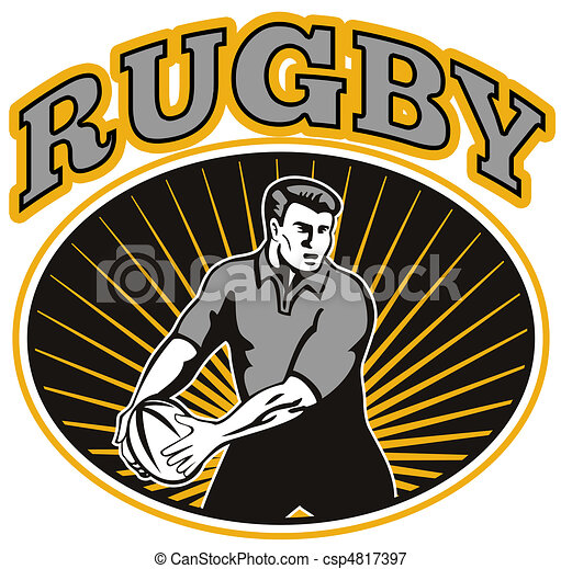 rugby player passing ball  - csp4817397