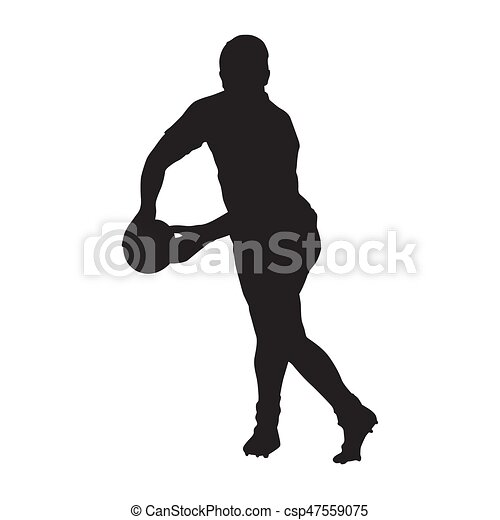 Rugby player passing ball, vector silhouette - csp47559075