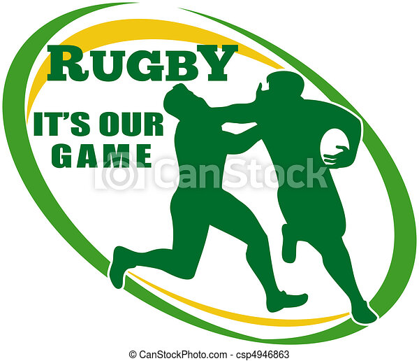 illustration of a rugby player running fending off tackle rh canstockphoto com rugby clipart black and white rugby clipart pictures