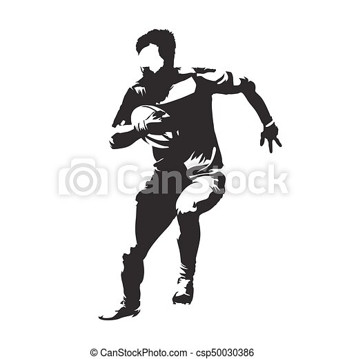 Rugby player running with ball, abstract vector silhouette, front view - csp50030386