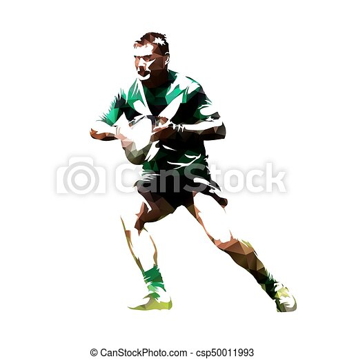 Rugby player with ball, abstract polygonal vector silhouette, front view - csp50011993
