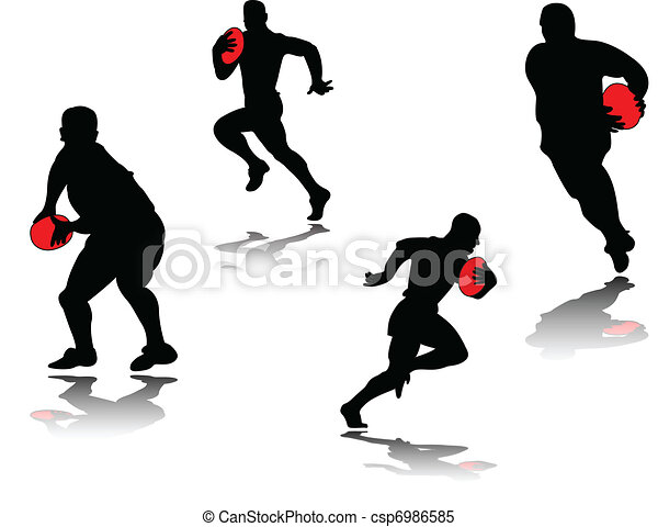 rugby player with shadow - vector - csp6986585