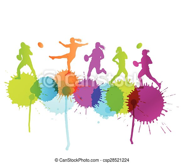 Rugby player woman active sport vector background concept with color splashes - csp28521224