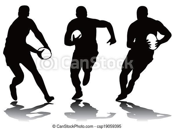 Tres siluetas de rugby - csp19059395