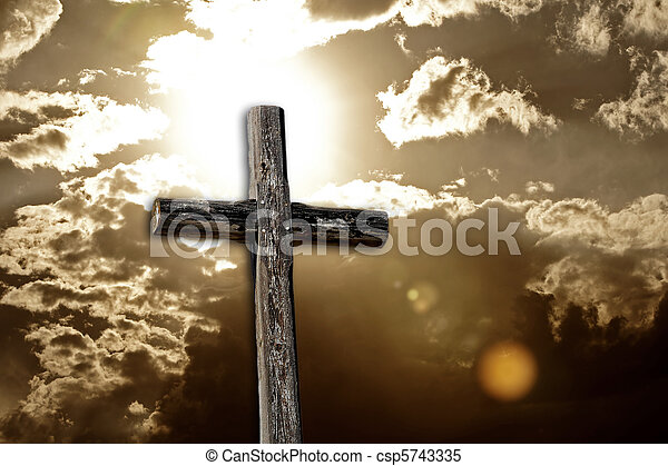 Rugged Cross, Bright Sun and Clouds - csp5743335
