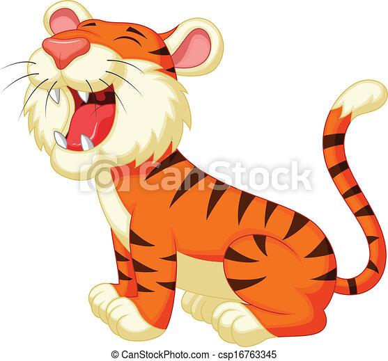 ruggire, tiger, cartone animato, carino - csp16763345