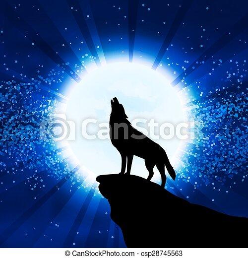Rugir Lobo Luna Luna Rugir Vector Lobo Ilustración
