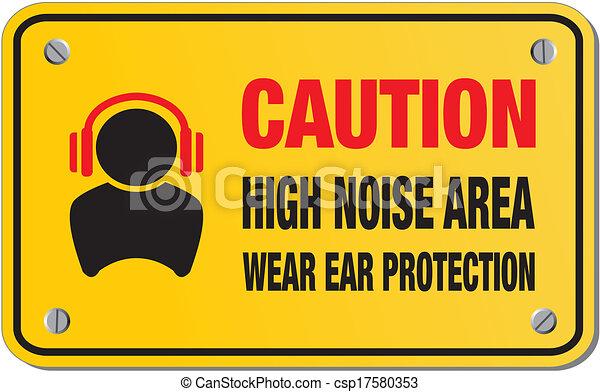 Precaución de alto ruido, señal amarilla - csp17580353