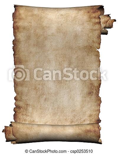 ruige , manuscript, rol, perkament - csp0253510