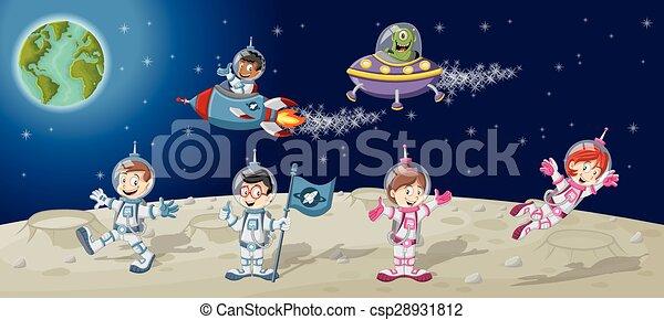 ruimtevaarder, spotprent, karakters - csp28931812
