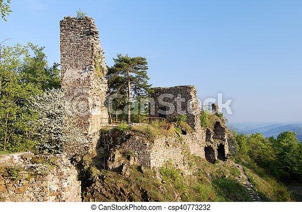Ruin Of Zubstein Castle Evening Shine Czech Republic