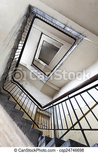 Ruined staircase in an old building - csp24746698