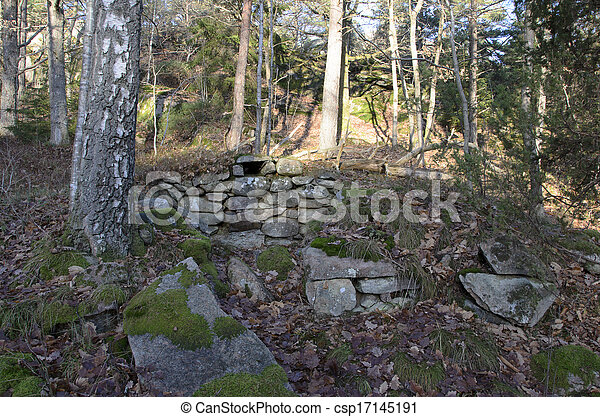 ruins from an old root cellar - csp17145191