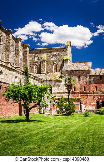Ruins of an old church in Tuscany - csp14390480