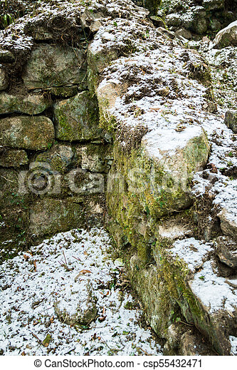 Ruins of an old stone building on Dartmoor - csp55432471