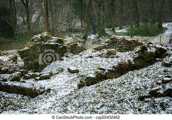 Ruins of an old stone building on Dartmoor - csp55432462