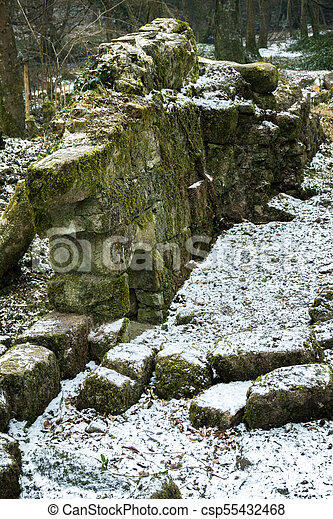 Ruins of an old stone building on Dartmoor - csp55432468