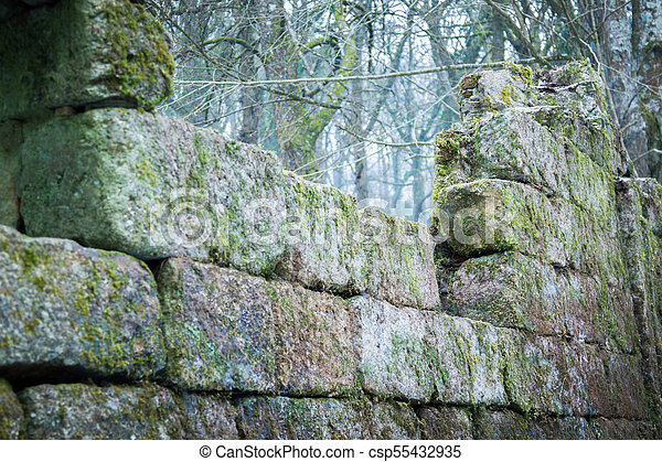Ruins of an old stone building on Dartmoor - csp55432935