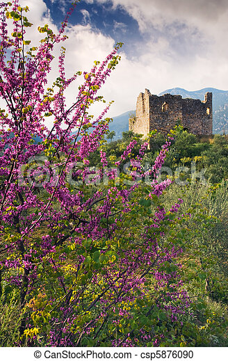 Ruins of an old tower in rural setting - csp5876090