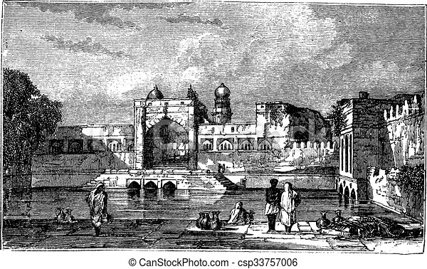 Ruins of Bijapur, in Karnataka, India, during the 1890s, vintage engraving.  - csp33757006