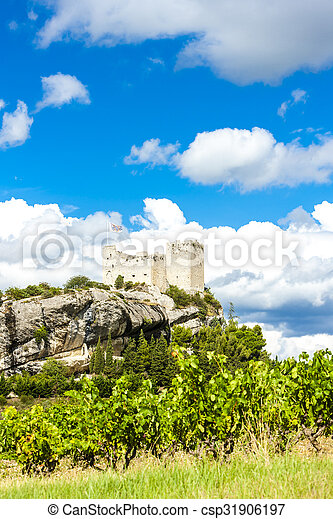 ruins of castle in Vaison-la-Romaine with vineyard, Provence, France - csp31906197