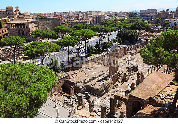 Ruins of Foro di Cesare in Rome, Italy to this day they do great impression - csp9142127