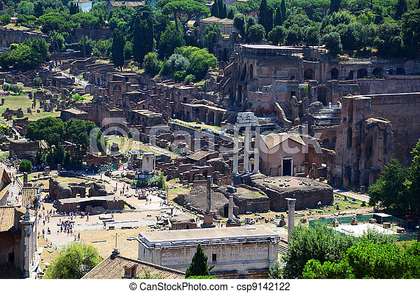 Ruins of Foro di Cesare in Rome, Italy to this day they do great impression - csp9142122