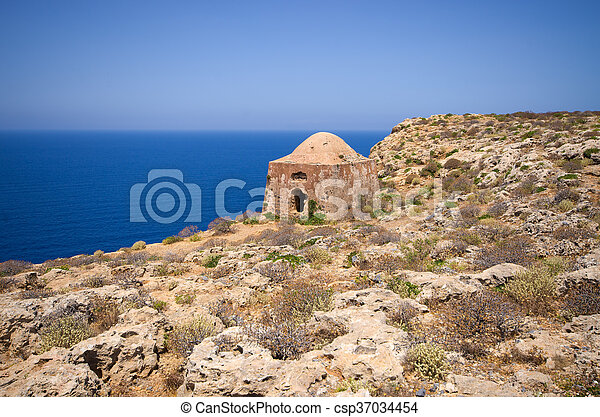 Ruins of old fortress on Gramvousa island, Crete, Greece - csp37034454