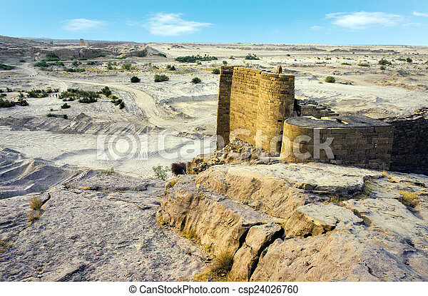 ruins of old historic dam in marib, Yemen - csp24026760
