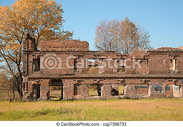 Ruins of old town in the autumn park - csp7396733