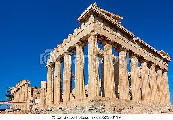 Ruins of Parthenon temple in Acropolis - csp52306119