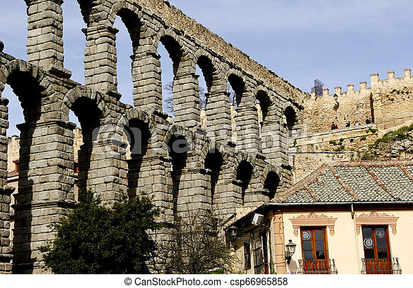 Ruins of Roman Aqueduct in Segovia Spain - csp66965858