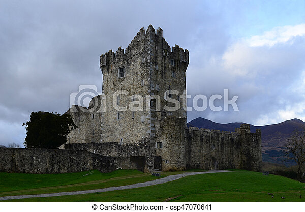 Ruins of Ross Castle in Killarney National Park - csp47070641