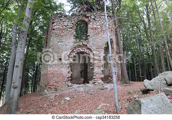Ruins of the Baroque chapel of Saint Mary Magdalene - csp34183258