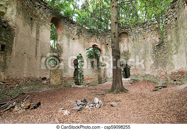 Ruins of the Baroque chapel of Saint Mary Magdalene - csp59098255
