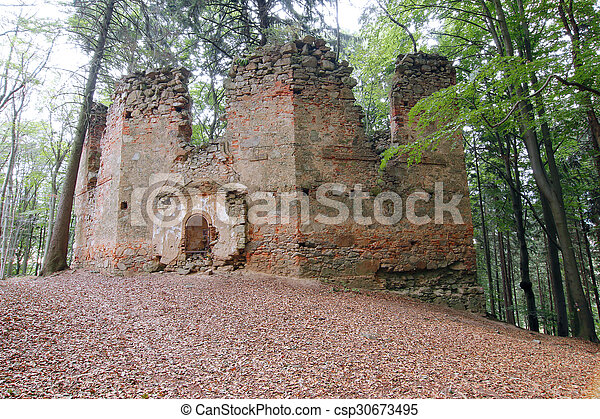 Ruins of the Baroque chapel of Saint Mary Magdalene - csp30673495