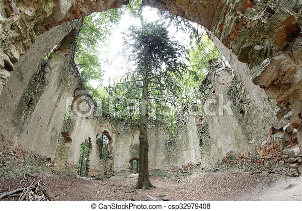 Ruins of the Baroque chapel of Saint Mary Magdalene - csp32979408
