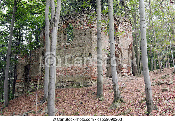 Ruins of the Baroque chapel of St. Mary Magdalene - csp59098263
