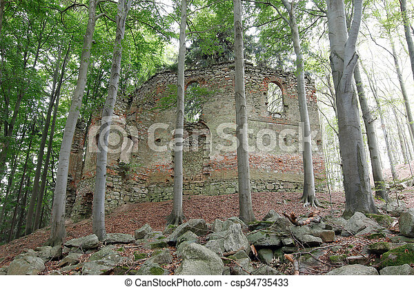 Ruins of the Baroque chapel of St. Mary Magdalene - csp34735433