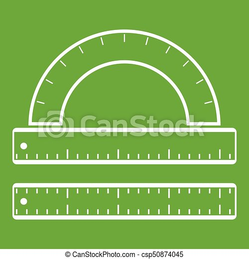 Ruler and protractor icon green - csp50874045