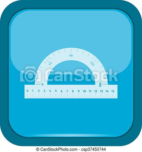 Ruler icon on a blue button - csp37450744