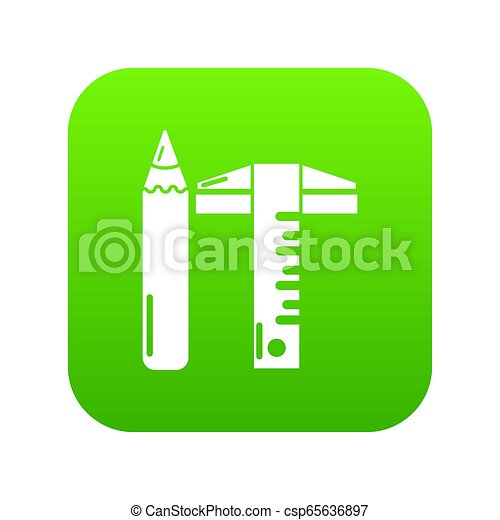Ruler pencil icon green - csp65636897