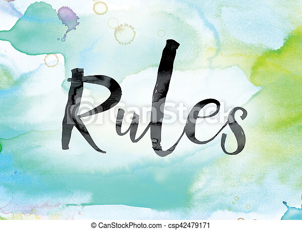Rules Colorful Watercolor and Ink Word Art - csp42479171