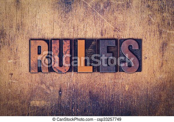 Rules Concept Wooden Letterpress Type - csp33257749